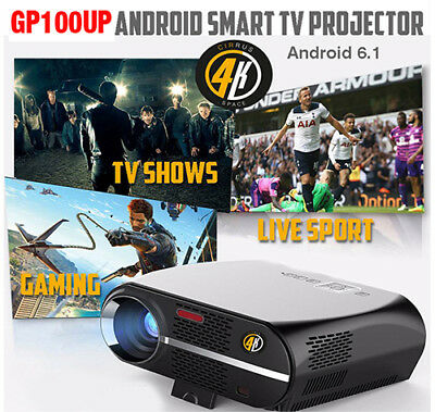 2018 Cirrus4k GP100UP Android 6.1, Gloss Black TV/Video Projector