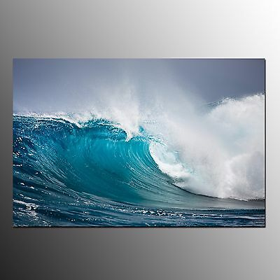 FRAMED Large Canvas Print Art Home Decor Blue Wave Wall Art Painting On Canvas