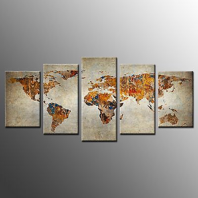 FRAMED 5 Panels Canvas Prints World Map Canvas Wall Art Painting for Living Room