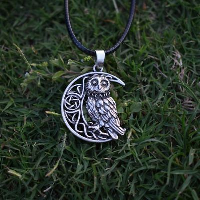 Owl Goddess Crescent Moon Wicca Celtic Pagan Amulet Talisman Pendant Necklace