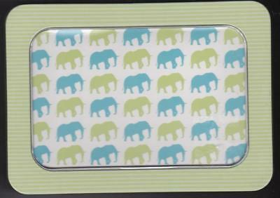 Elephants Zig Zag Blank Note Cards in Storage Tin Box 12 Envelopes Writing Paper