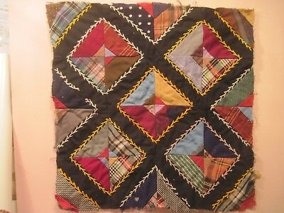 """Quilt Pattern  1920's  Vintage  Very Bright Colors. 17"""" X 17"""""""
