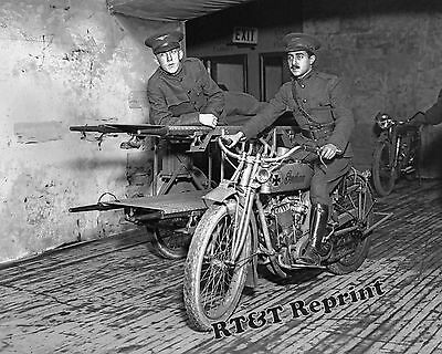 Photograph WWI Indian Motorcycle Army Ambulance on Display New York Year 1917