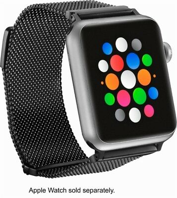 Platinum - Magnetic Stainless Steel Mesh Band for Apple Watch 42mm Black