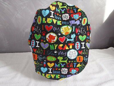 Bouffant surgical scrub hat cap black love cats