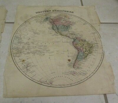1877 Western Hemisphere Antique Original Color Map 14x17 North & South America