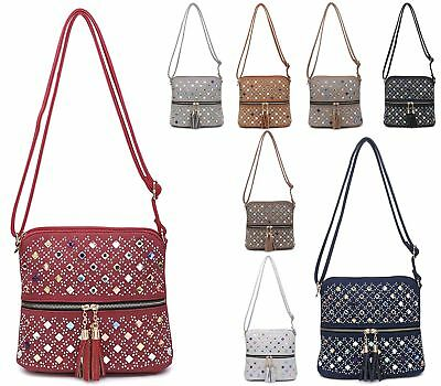 Womens Faux Leather Flat Everyday Cross Over Cluster Zip Diamante Shoulder Bag