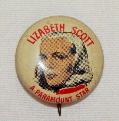 Vintage Lizabeth Scott Quaker Puffed Wheat Cereal Premium Advertising Pinback