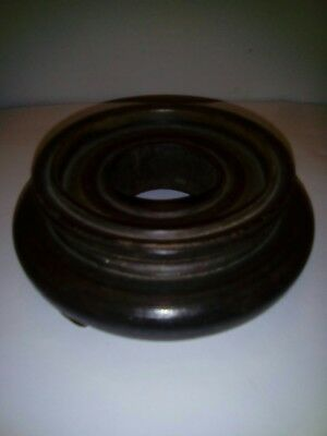 Chinese hardwood stand indented top, 4.5 inches overall