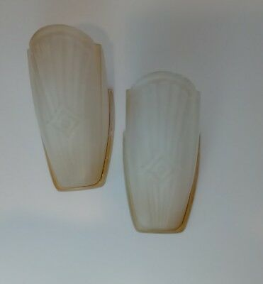 2 Antique Wall Sconce Chandelier Slip Shades Art Deco Ornate Beige Glass  8.5""