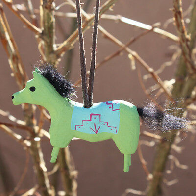 HORSE WITH BLANKET by CHANDLER BEGAYE - ORNAMENT - NATIVE AMERICAN FOLK ART
