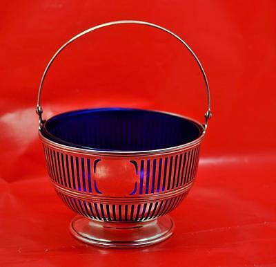 Sterling Silver Art Deco Sugar Basket American Watson Company blue glass liner
