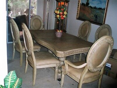Collezione Dining Room Set  Chairs have leather seats and backs, China Cabinet