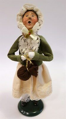 """Byers Choice The Carolers 1996 Female in Green Velvet & Lace Trimmed Bonnet 11"""""""