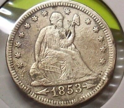 1853 Excellent Sharp Detail Seated Liberty  Quarter Dollar Silver Lot 25 Cents