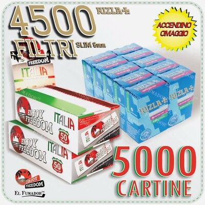 4500 Filtri RIZLA SLIM 6mm + 5000 Cartine ENJOY FREEDOM ITALIA CORTE BIANCHE