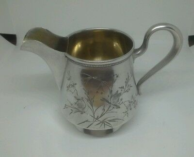 Fine  Quality Antique Solid 84 Russian Silver Creamer Beautifully Engraved
