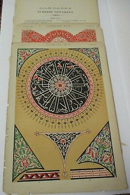 1868 Owen Jones GRAMMAR OF ORNAMENT Turkish Ornament Chromolithograph Lot of 2