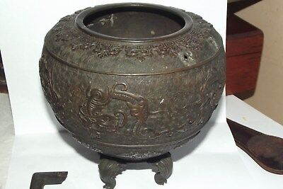 ANTIQUE VINTAGE chinese bronze censer MARKed