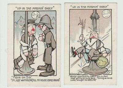 """2 Comic Artist Signed Postcards: G. Sinclair - """"up In The Morning Early'"""