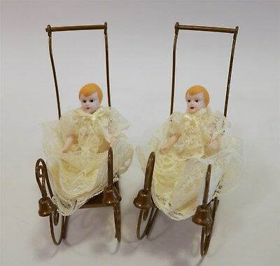 Byers Choice Set of Two Bronze Baby Carriages with Little Girls in Lace Dresses