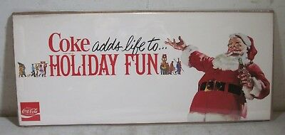Vintage 1960's Coke Adds Life To Holiday Fun Santa Claus Sign New NOS Coca-Cola