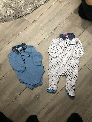 X2 Ted Baker 0-3 Months Babygrows Sleepsuit