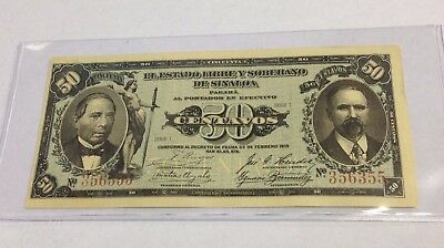 1913 Sinaloa State Mexico 50 Centavos banknote, Series I, Mexican Revolution