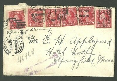 1922 Special Delivery Cover Hotel Worthy Springfield Massachusetts From New York