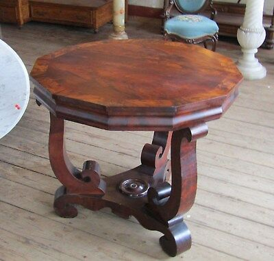 Period Empire Mahogany Burl Top Center Table