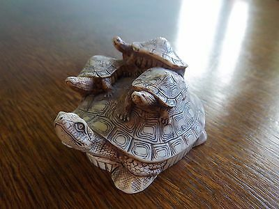 Vintage Okimono of Turtle with 3 Small Turtles on it's back.