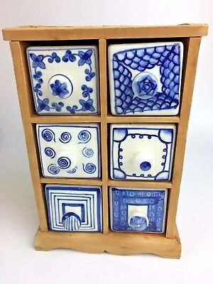 6 Drawer Spice Holder Delft Style Ceramic Drawers