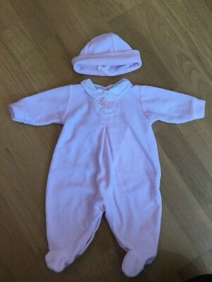 Baby Girls Zip Zap Pink Velour Sleepsuit Babygrow & Hat Size 1 Month Embroidered