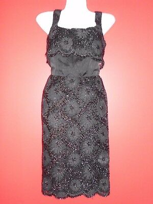 Marcusa 'Petite' styled by Marcus Vintage 50's Wiggle black lace dress 14s(fit 1