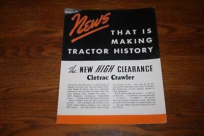 1938 Oliver Cletrac Crawler Tractors High Clearance Advertising Sales Brochure