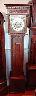 Antique Oak Grandfather Clock with Bird Cage Movement