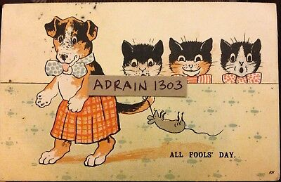 ALL (April) FOOLS DAY COMIC HUMOUR PC c1905 Dog With Mouse On Tail/ Cats