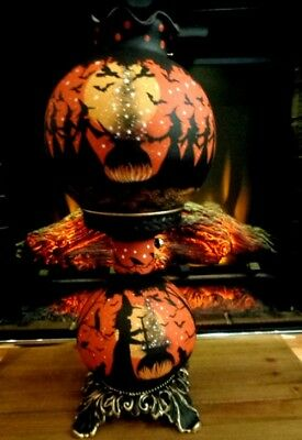 Vintage Halloween Witches Large 3- Way Victorian Style Hurricane Table Lamp