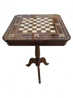 IN 6  WEEKS PERFECT Walnut & Maple inlaid Chess table