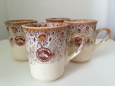 Set Of 4 Vintage Honeycomb Fosters Pottery Mugs Unused With Original Stickers