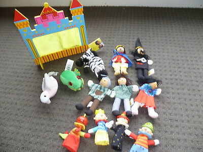 Puppets with Theatre, bulk lot of 12 puppets, wooden and plush. Geppetos toys