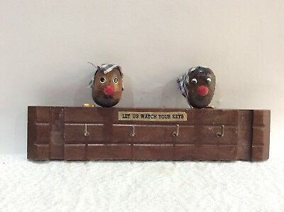 Vintage Black Americana Wood Hanger for Keys 1950s Let Us Watch Your Keys