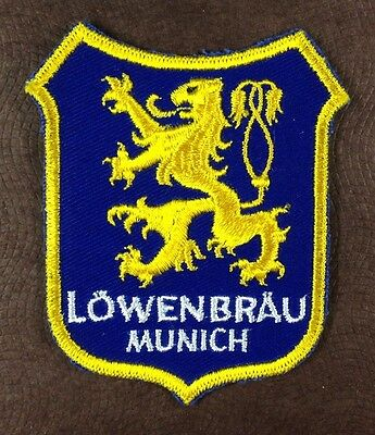 Two Vintage Lowenbrau Beer Machine Embroidered Uniform Jacket Patches - N.O.S.