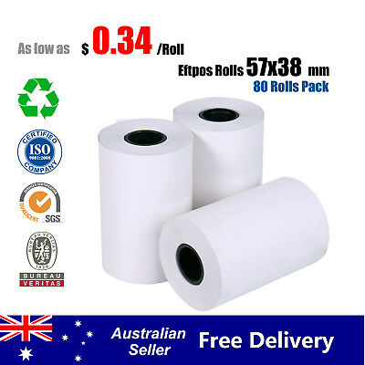 80 Pcs 57x38mm Eftpos Rolls Thermal Paper Cash Register Receipt Whole Australia