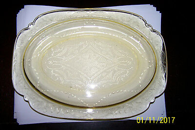 Amber Depression Glass Oval Platter