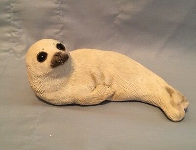 Signed Sandicast Baby Harp Seal Hand Cast & Hand Painted by artist Sandra Brue
