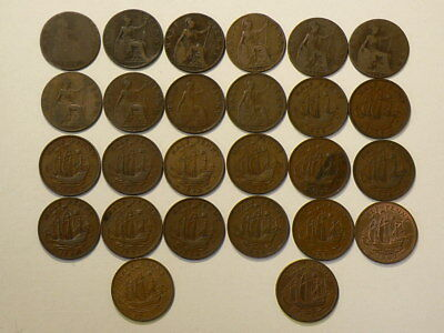 1874 to 1967 Great Britain Half Penny  Lot of 26  #G7694