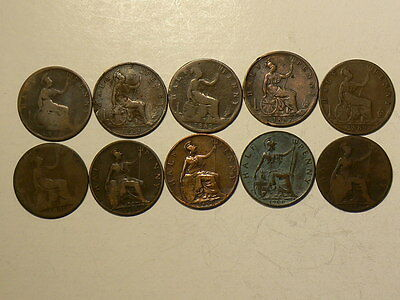 1874 to 1901 Great Britain Lot of 10 Victorian 1/2 Half Pennies  #G7397