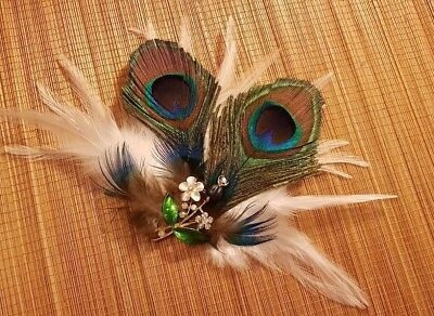 1920s Peacock Feather Fascinator, Crystal Pearl  Blue Green hair Clip fascinator