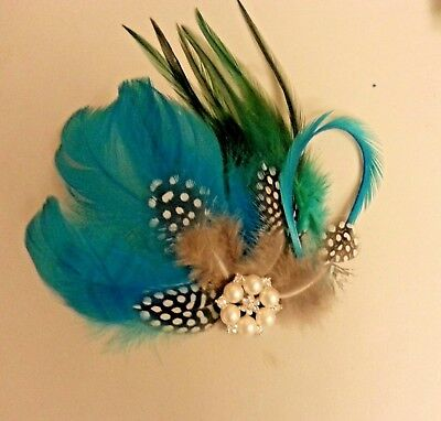 Blue Green Feather fascinator Gatsby Flapper Crystal hair clip Fascinator
